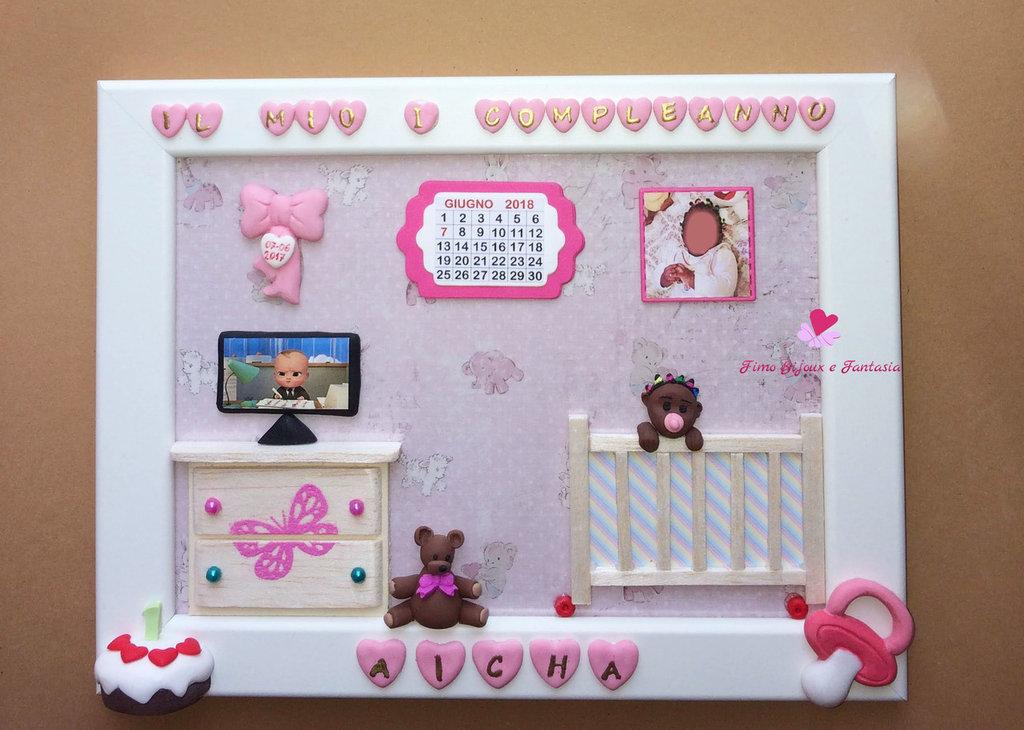 Quadretto da bambina per il primo compleanno. Idea regalo