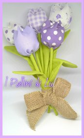 Mazzolino Tulipani in stoffa  - I Pallini di Lu