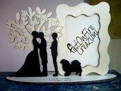 Cornice Portafoto cake topper in legno per sposi con albero della vita con incisione personalizzata