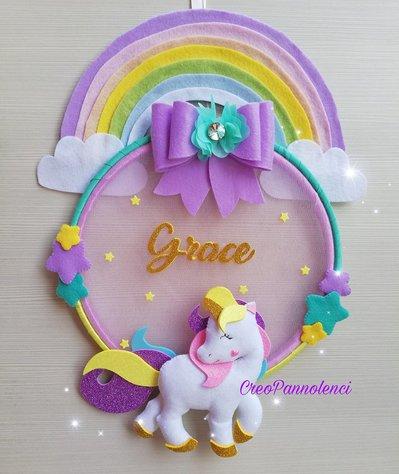 Fiocco nascita - decorazione cameretta Unicorno delle favole