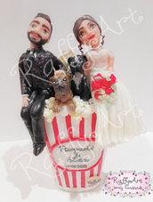 """Cake topper matrimonio """"Pop Corn Love"""" (personalizzabile)"""