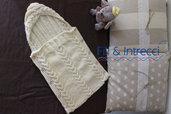 sacco nanna neonato/neonata di lana ai ferri fatto a mano
