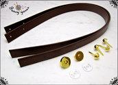 Kit per borsa fai da te: 2 Manici 65 cm. in similpelle marrone, 4 piedini e 1 chiusura calamita, colore oro