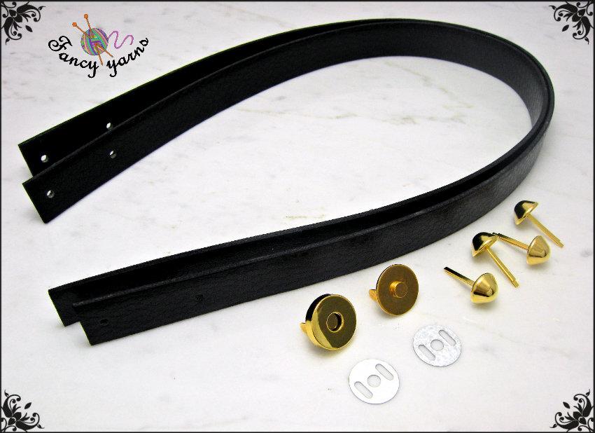 Kit per borsa fai da te: 2 Manici 65 cm. in similpelle nera, 4 piedini e 1 chiusura calamita, colore oro