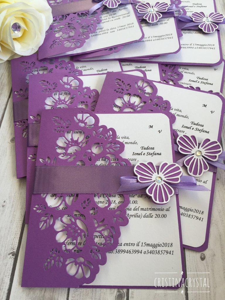 Matrimonio In Lilla : Partecipazioni matrimonio lilla invito nozze lilla partecipazione
