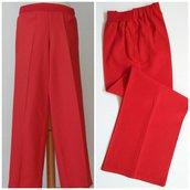Pantalone dritto in bourette di seta, con elastico; fatto a mano.