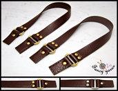 2 manici per borsa con fori per fissaggio cm.42 , similpelle marrone - accessori oro / argento