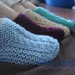 babbucce donna / uomo di lana fatte a mano ai ferri con motivo a trecce