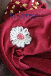 spille artigianali con fiori di lana