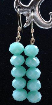 Orecchini pendenti mezzi cristalli, orecchini pendenti, regalo per lei, per la mamma, made in Italy, orecchini in argento, orecchini azzurri, nikel free
