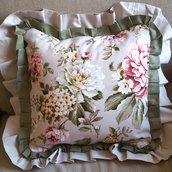 Fodera cuscino 40 x 40 country fiori beige verde