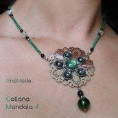 COLLANA GIROCOLLO MANDALA 4 - in acciaio e perline con cabochon glitter verde e grigio nero argento - NICKEL FREE!!!