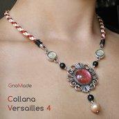 COLLANA VERSAILLES 4 - con cabochon glitter rosa salmone e oro e cordino intrecciato a mano