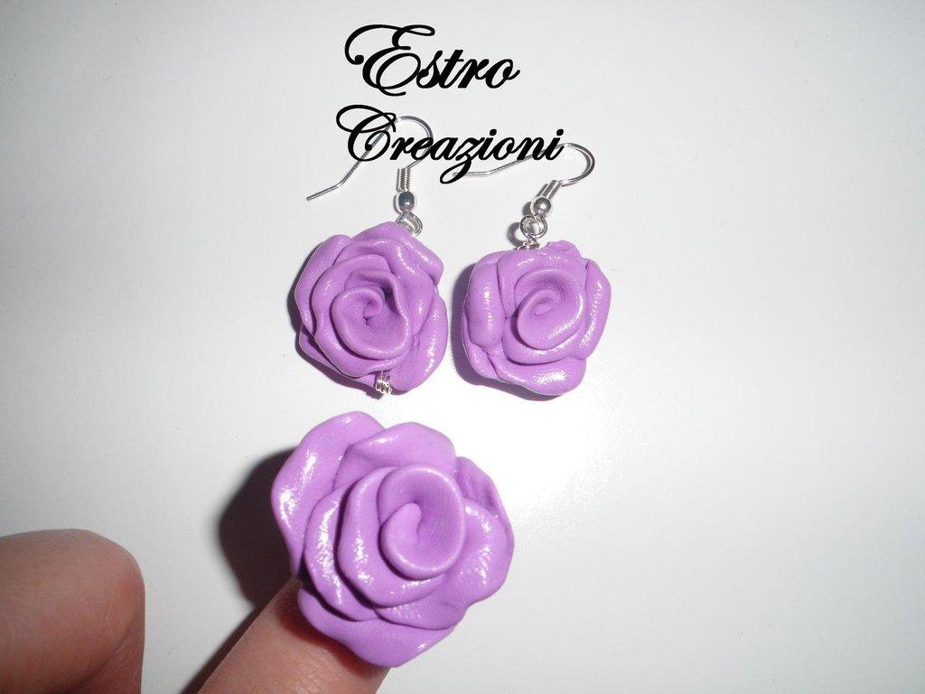 orecchini e anello rose lilla