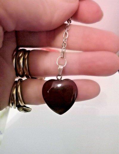 Portachiavi uomo donna con cuore in autentica agata rossa pietra dura naturale chakra cristalloterapia