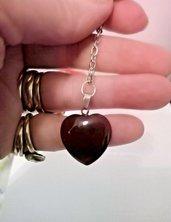Portachiavi uomo donna con cuore in autentica agata rossa naturale chakra cristalloterapia