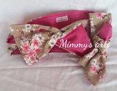 Set fascia per capelli mamma e figlia, double face, fiori di loto e fucsia