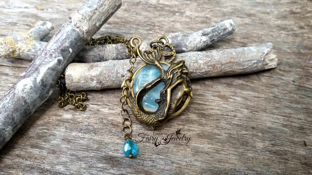 Collana sirena bronzo ancora mare marinaio bigiotteria gioielli artigianato fatto a mano