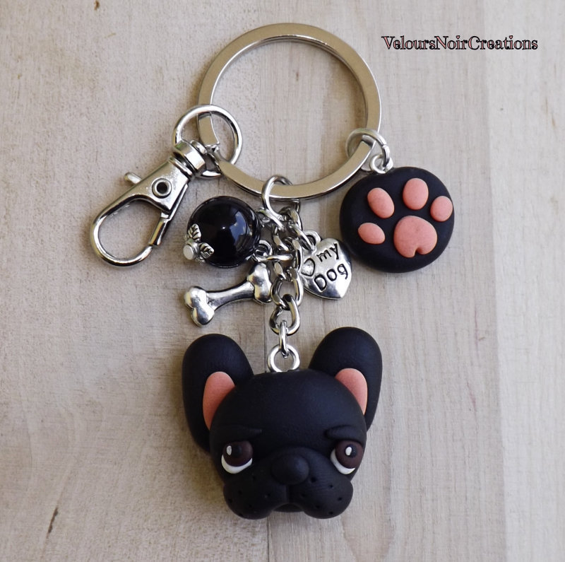 Portachiavi cane bulldog francese nero e orma zampa
