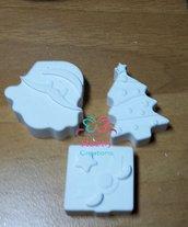 Gessetti artigianali a forma di Albero con stella di Natale , pacco Regalo e Babbo NATALE,  Bomboniera Compleanno, Segnaposto Bomboniera