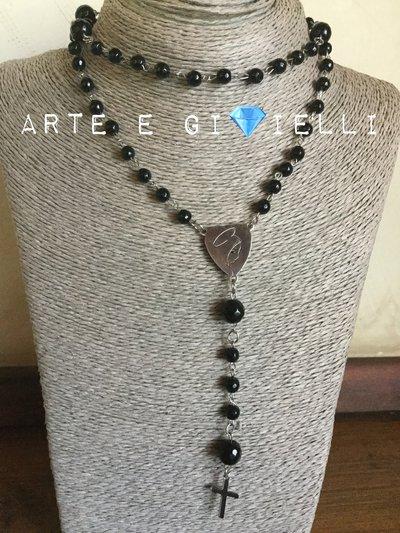 Collana rosario con agata nera