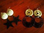 Orecchini crochet con stelle glitter e/o con cerchi in metallo placcato