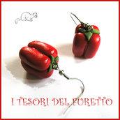 """orecchini """" Peperoni """" vegetariani vegani fimo cernit idea regalo primavera  estate idea regalo bambina"""
