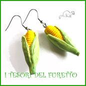 """orecchini vegetariani """" pannocchie """" fimo cernit idea regalo estate primavera bambina personalizzabile su richiesta con clip"""