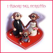 """Cake topper """" Scimmiette sposi e bambino """" matrimonio sopratorta idea regalo cake top sopratorta"""
