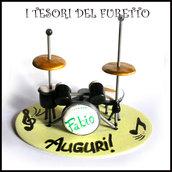 """Cake topper """" batteria acustica """" idea regalo compleanno natale batteria fimo cernit premo"""