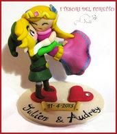 """cake topper personalizzato """" elfi innamorati """" matrimonio kawaii sposi idea regalo sopratorta fimo"""