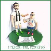 """Cake topper personalizzato """" Chiellini e Nicholas """" calciatore sopratorta idea regalo natale compleanno"""