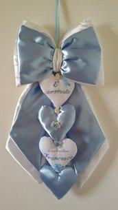 Inserzione riservata Fiocco nascita azzurro con cuori e ricamo nome Francesco a punto croce