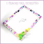 """Cornice portafoto """" Trilly """" Campanellino mosaico fimo cernit premo idea regalo mosaico bambina comunione cresima battesimo compleanno"""