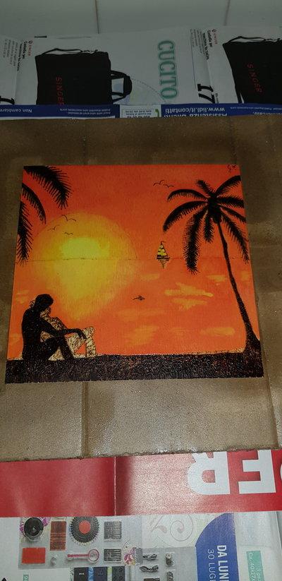 Quadro pirografato e dipinto a mano.  Coppia al mare al tramonto