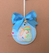 Capoculla celeste fatto a mano in fimo per carrozzina, culla  o lettino da neonato. Idea regalo.