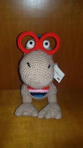 Dino Occhialino, dinosauro amigurumi