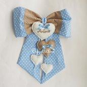 Fiocco nascita azzurro e beige con tanti cuori per annunciare la nascita del piccolo Antonio