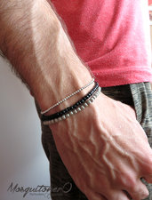 Bracciale uomo donna minimal con perle in vetro nero o colore argento da 2 4mm