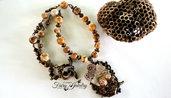Collana farfalla cammeo bronzo vintage natura pietre dure diaspro picasso  gioielli idea regalo