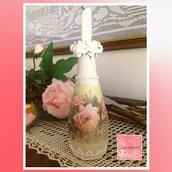 Vasetto Porta candele in vetro fai da te shabby chic con rose