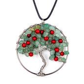 Collana con ciondolo albero della vita in vera agata verde e rossa pietre dure naturali chakra cristalloterapia