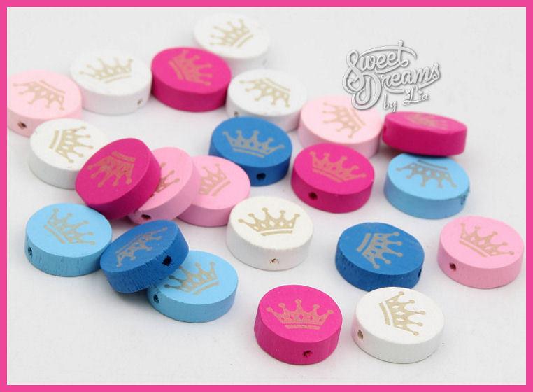 Lotto 5 perle in legno motivo  *corona*