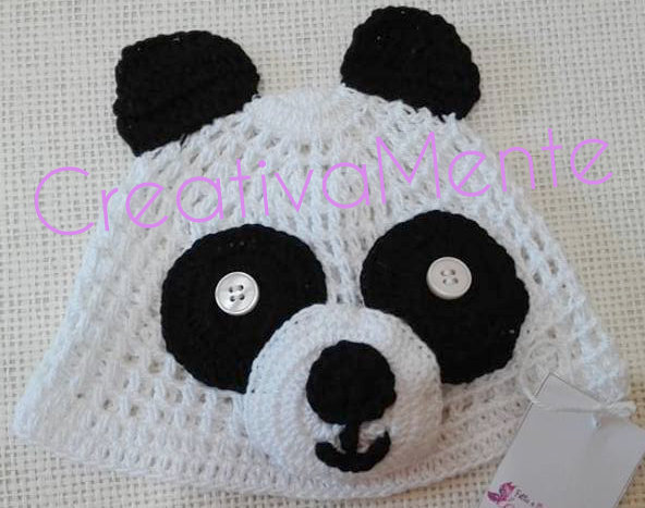 Cappello Panda Realizzato Alluncinetto Per Neonato 03 Mesi Bamb