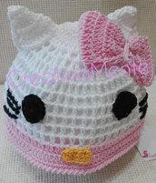 Simpatico cappello realizzato all'uncinetto 6/9 mesi Hello Kitty