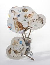 """VENTAGLIO IN CARTONCINO rivestito con carta d'autore """"3 gatti & mouse"""" - fresca estate - regalo estivo - accessori donna"""
