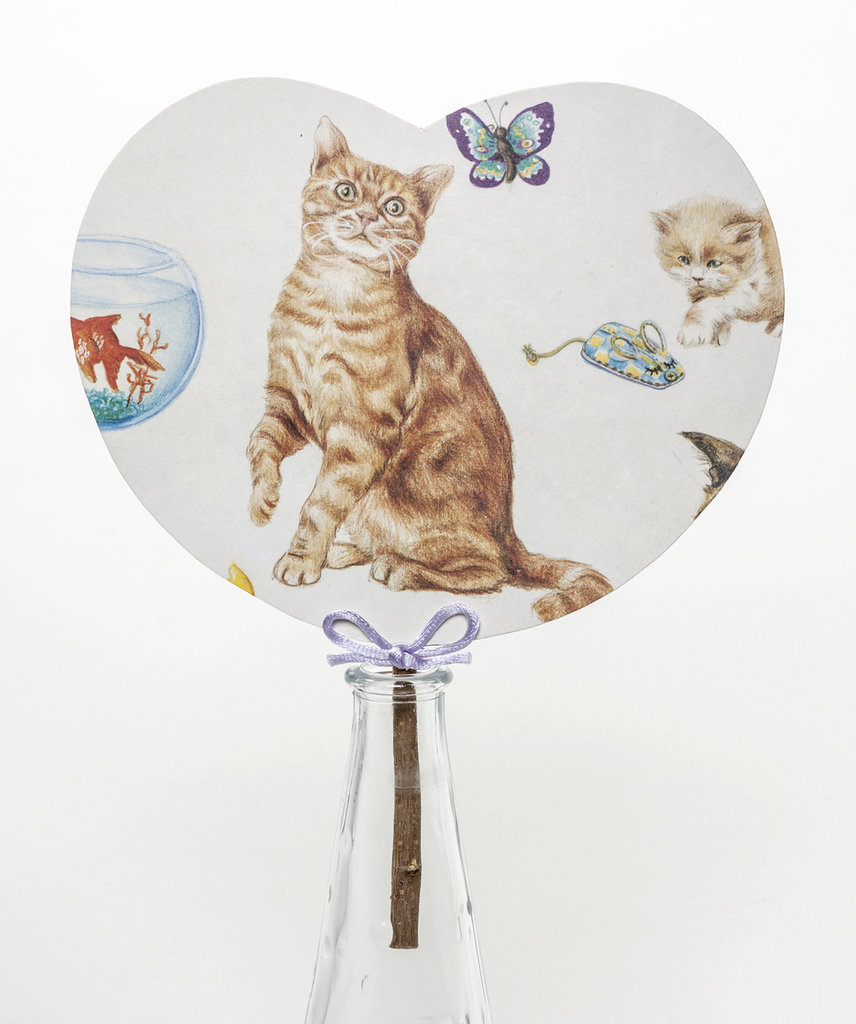 "VENTAGLIO IN CARTONCINO rivestito con carta d'autore ""gatto & fiocco"" - fresca estate - regalo estivo - accessori donna"