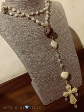 Collana rosario bianca e dorata 💛