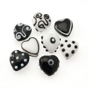 Lampwork Heart Black and White 20mm (8pz)
