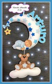 Fiocco nascita bebè su luna con orsetto